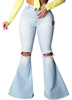 Famnbro Women Casual Jeans High Rise Slim Fit Ripped Skinny Denim Pants