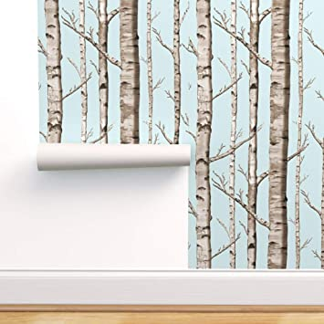 Spoonflower Peel And Stick Removable Wallpaper Light Blue Birch Grove Woodland Nursery Print Self Adhesive Wallpaper 12in X 24in Test Swatch Amazon Com