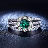 Gorgeous 925 Silver Jewelry Round Cut Emerald Women Wedding Ring Size 6-10 (9)