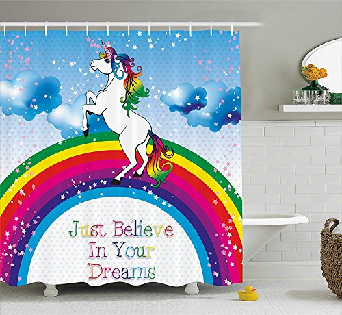 (SPXUBZ Kids Unicorn Surreal Myth Creature Before Rainbow Clouds Star Fantasy Girls Fairytale Image Shower Curtain Waterproof Bathroom Decor Polyester Fabric Curtain Sets with)