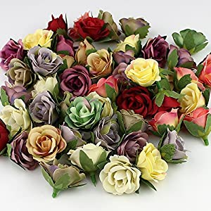 Fake Flowers Heads in Bulk Wholesale for Crafts Silk Artificial Flowers Heads Mini Rose Flower Heads for Party Festival Home Decor Wedding Decoration Ball Craft 30pieces/lot 3cm 42