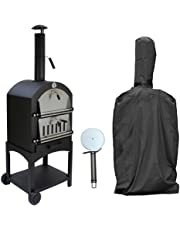 RocwooD Outdoor Pizza Oven Wood Fired Garden Chimney Charcoal BBQ & Smoker Bread Oven, With Free Cover