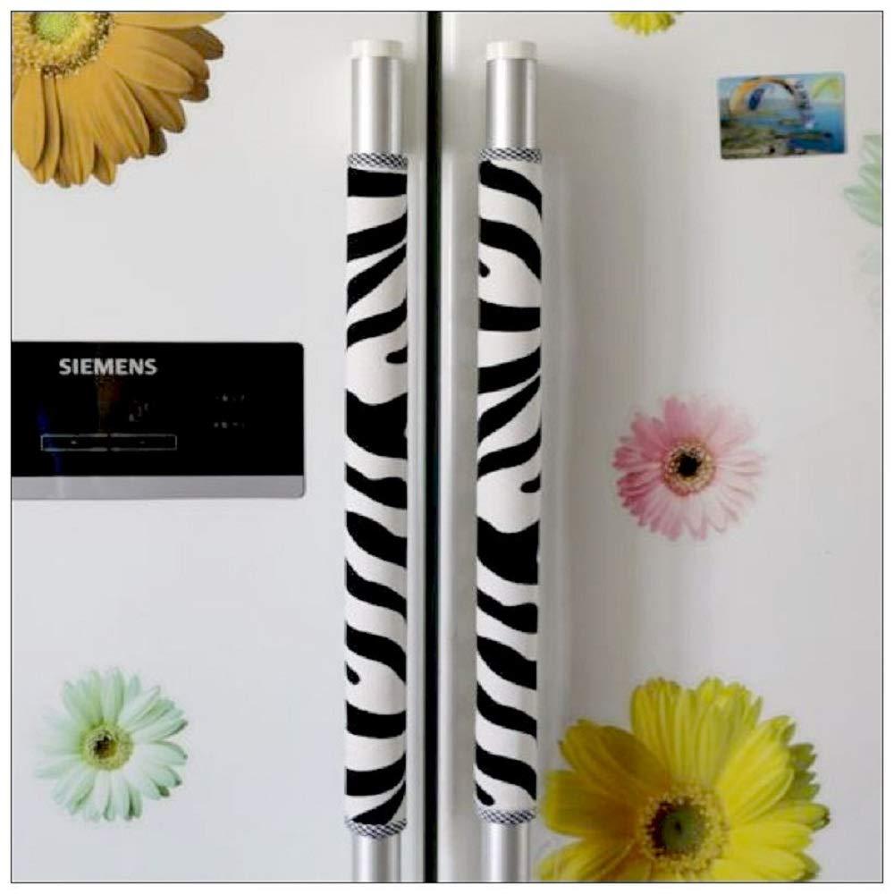PAPWOO Refrigerator Handle Covers 2pcs/Set Zebra Appliance Decorations Handle Cover for Kitchen Microwave Oven Door Handle Cover Fridge Dishwasher Handle Protector Doorknob Double-Door Gloves (L)