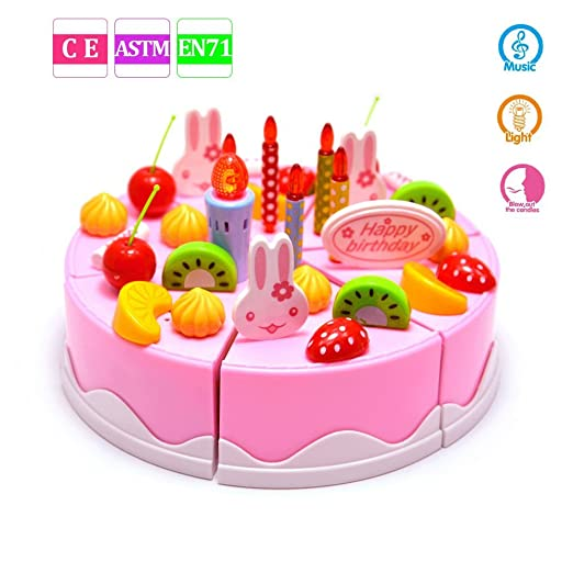 Lexitek Birthday Childrens Day Gift Food Play Toy Set DIY Cutting Pretend Party Cake