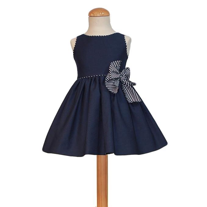 CARMEN VAZQUEZ Vestido de Niña Azul Marino con Lazo a Rayas (3)