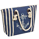 Large Jute Beach Tote Bag-Top Zipper Inner Pocket with Nature Thick Rope Cotton Handle 20'' L x 14.5'' H x 5.2'' W (Sea-blue)