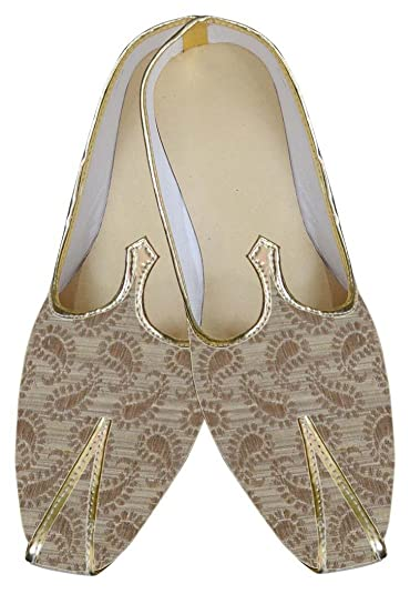 Mens Beige Brocade Shoes Traditional MJ0021