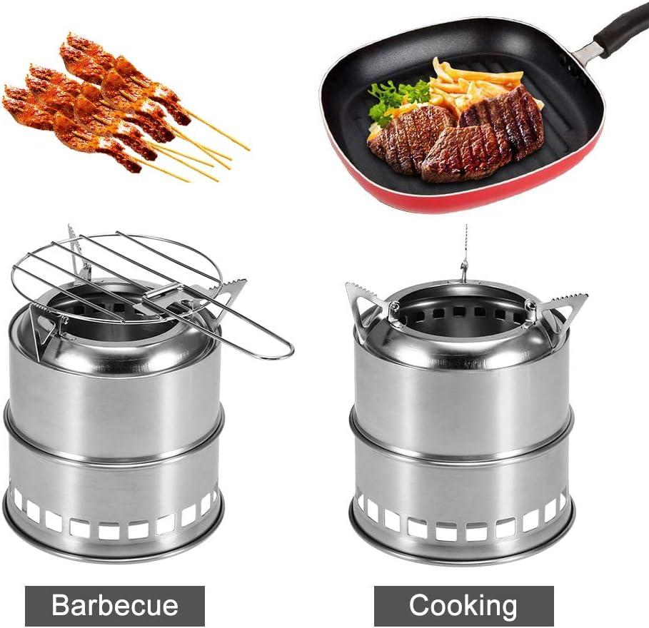 Estufa Plegable port/átil para Acampar Estufa de le/ña para cocinar al Aire Libre Estufa de le/ña con Alcohol y Parrilla Net Senderismo Mochilero Picnic BBQ Walmeck