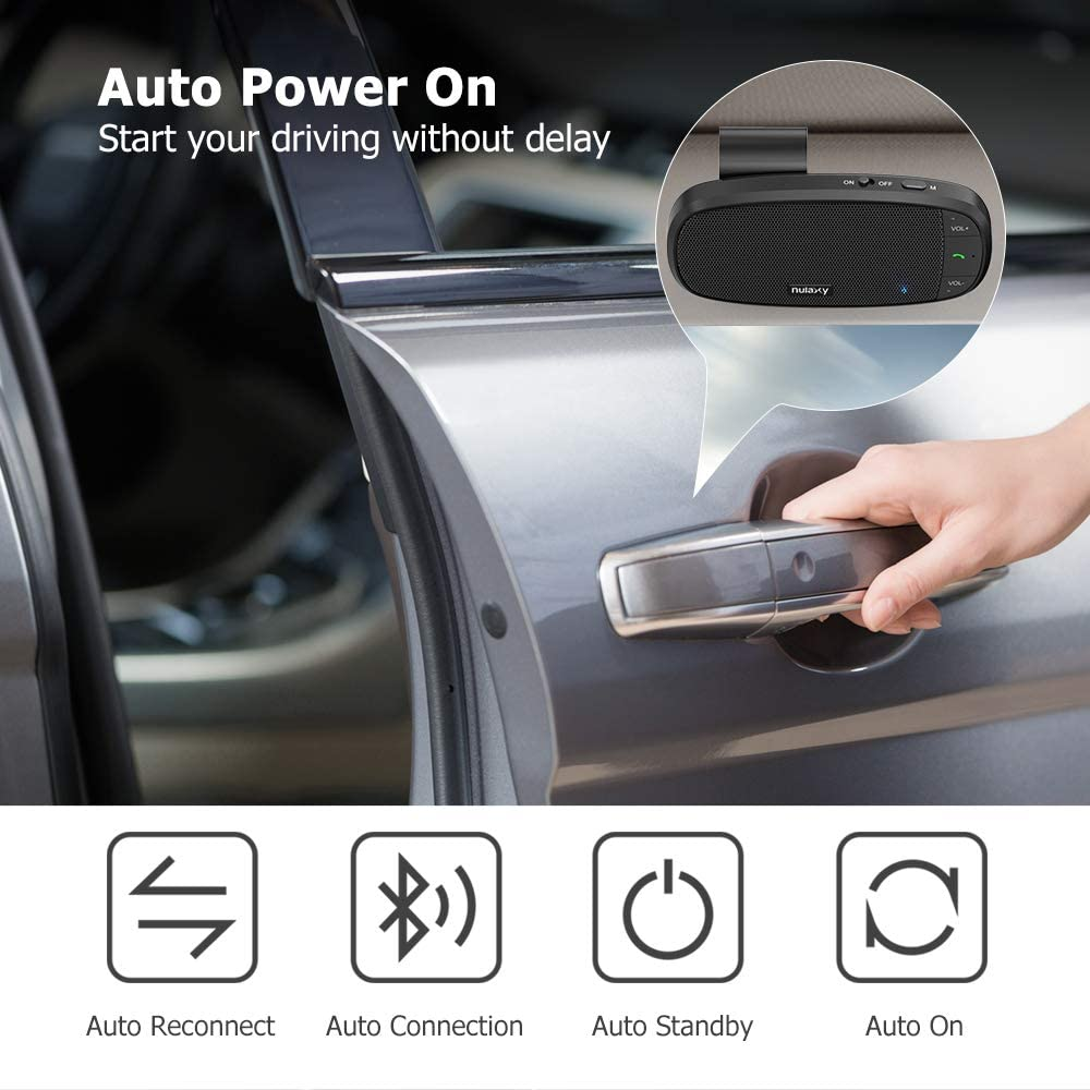 Nulaxy Hands Free Bluetooth for Cell Phone Loud Speakerphone Supports Siri Google Assistant Wireless Car Speaker with Visor Clip Motion AUTO ON 2 Phones Simultaneously