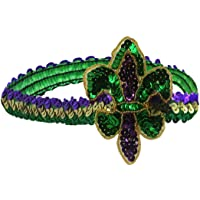 Unisex Mardi Gras Fleur De Lis Headband, Multi-color, Adjustable