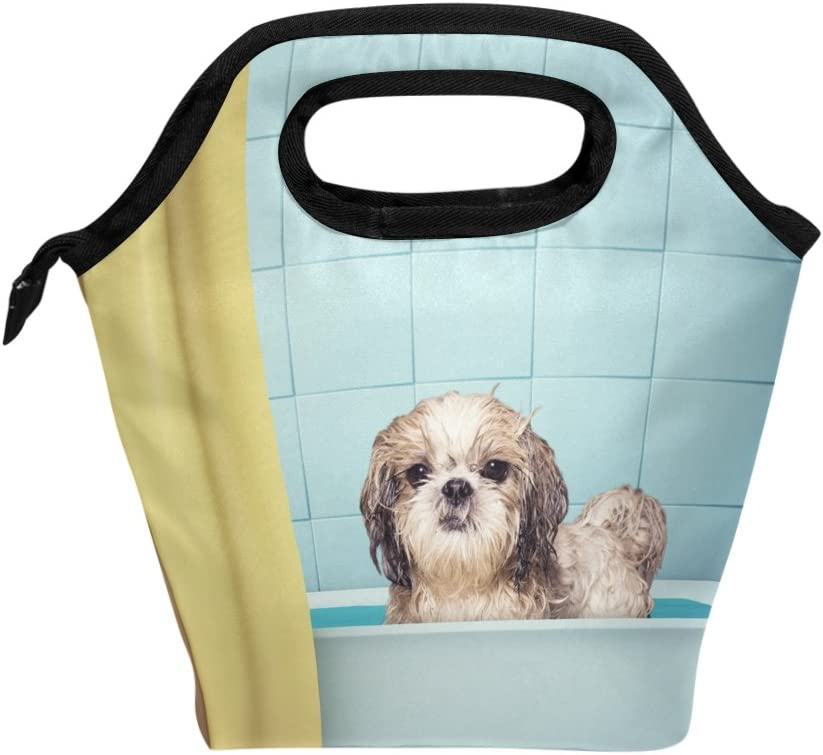Lunch Tote Bag Cute Wet Shitzu Dog Handbag Lunchbox Food Container Gourmet Tote Cooler Warm Pouch For School Work Office Travel Outdoor By Saobao