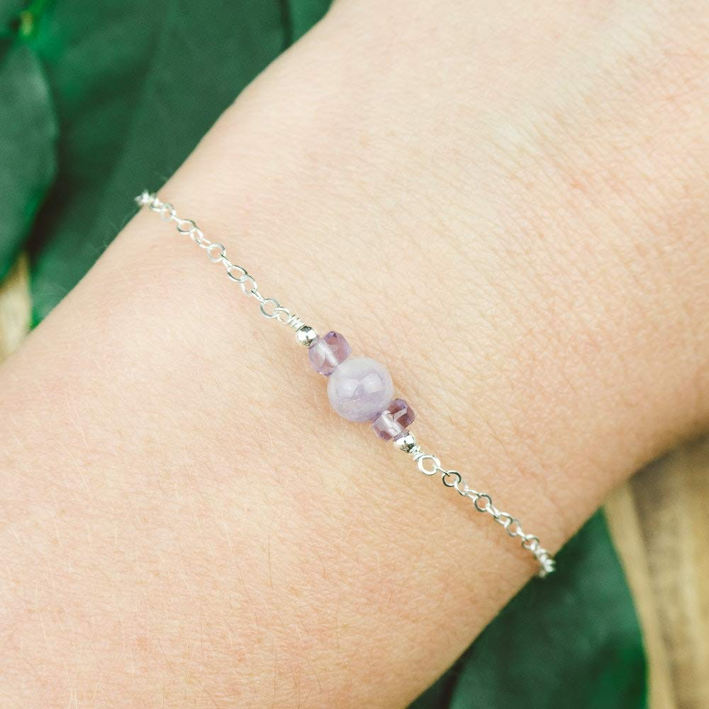 Dainty crystal lavender amethyst bracelet in 925 sterling silver 6 chain with 2 adjustable extender February birthstone