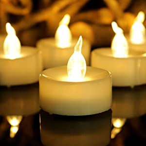 Aulaygo 12PCS LED TeaLight Candles Warm White with Timer Flickering Flameless Battery Operated Electronic Tea Lights for Christmas Thanksgiving Halloween Indoor Outdoor Home Wedding Party Yard Decor