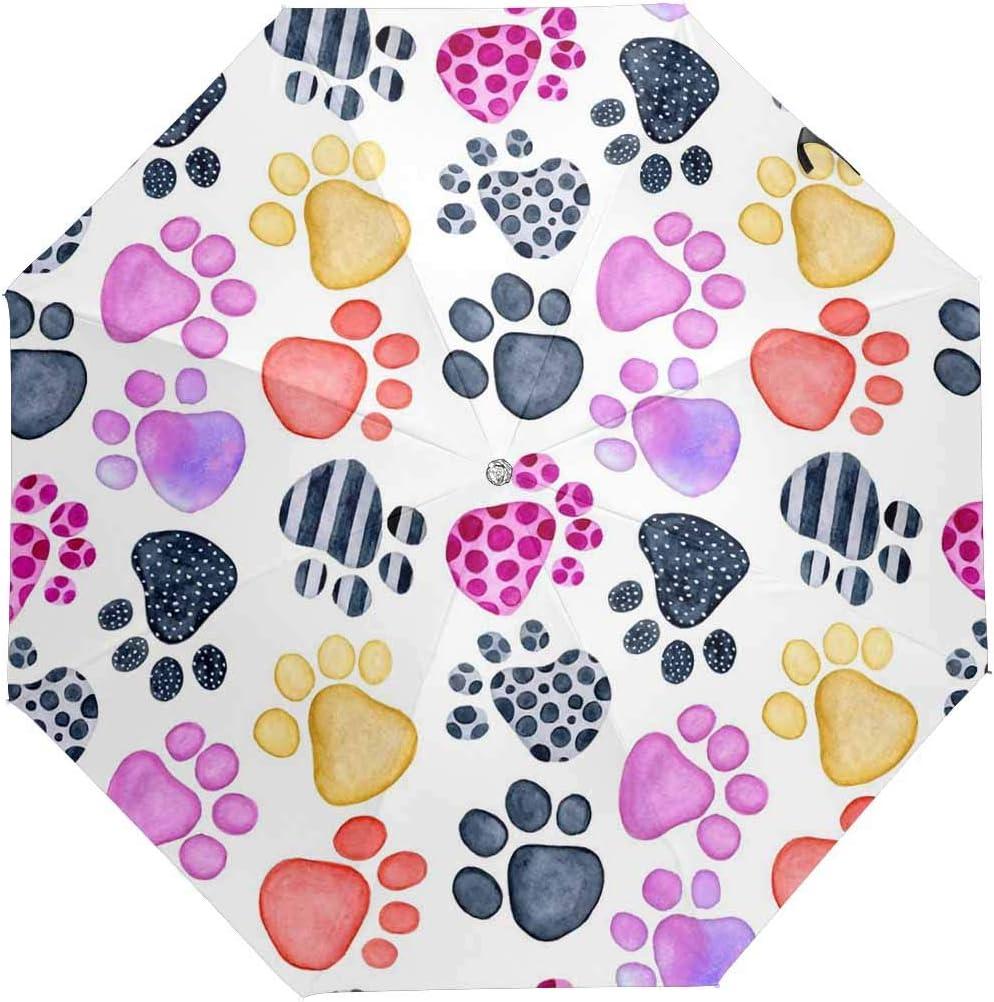 InterestPrint Custom Cat Paw Tattoo Anti Sun UV Foldable Travel Compact Umbrella