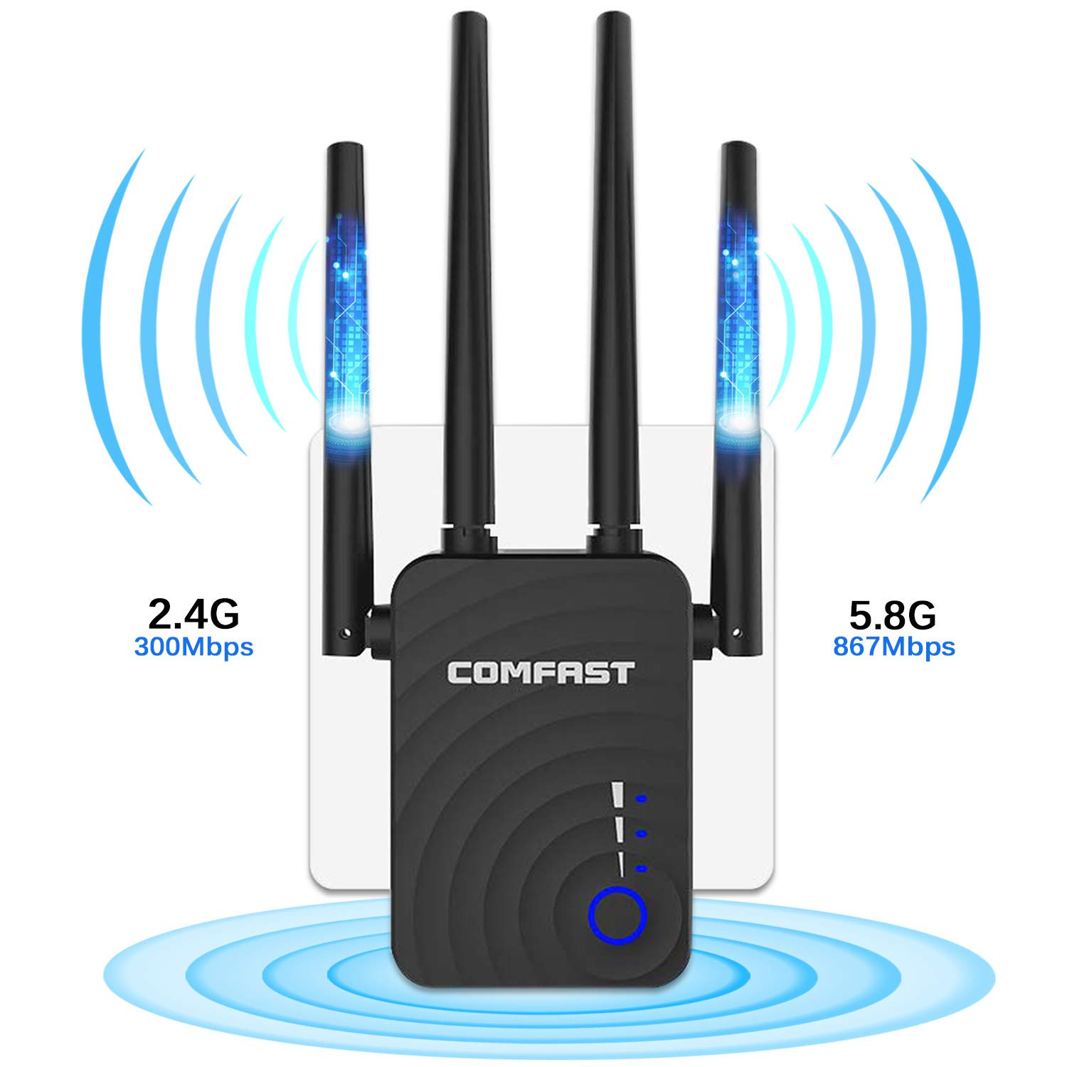 【Upgraded Version】COMFAST WiFi Range Extender WiFi Repeater, AC 1200Mbps Wireless Signal Enhancer, Dual Band 2.4G and 5G Expander, 4 Antenna wireless Access, Gigabit Ethernet Port, 360 Degree Coverage by Comfast