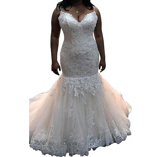 Dexinyuan Plus Size Mermaid Lace Wedding Dress for Bride Spaghetti ...