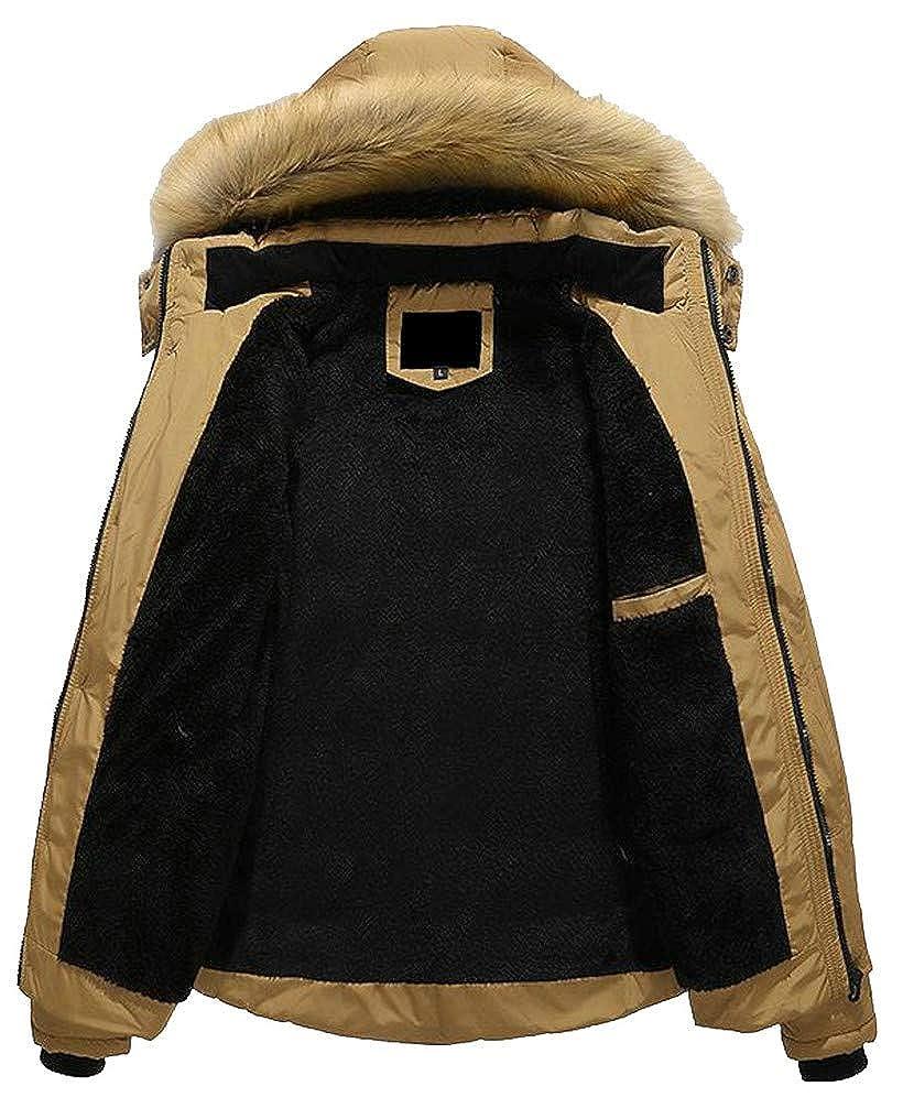 Hajotrawa Mens Quilted Warm Fleece Zipper Hooded Pocket Jacket Parka Coat