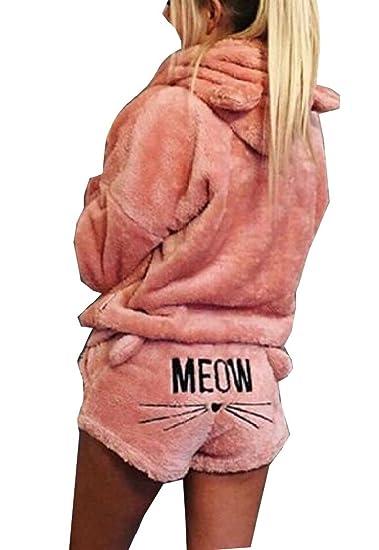 de9835e0865a M S W Women s Pajamas Fleece Suit Cute Meow Long Sleeve Hood Sleepwear Set  Shorts at Amazon Women s Clothing store