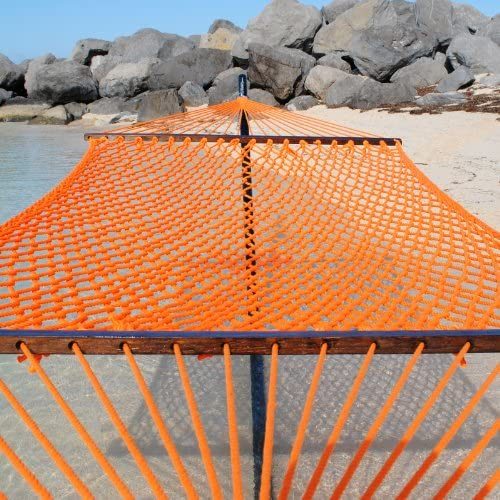 Caribbean Rope Hammock – 55 Inch – Soft-Spun Polyester Orange