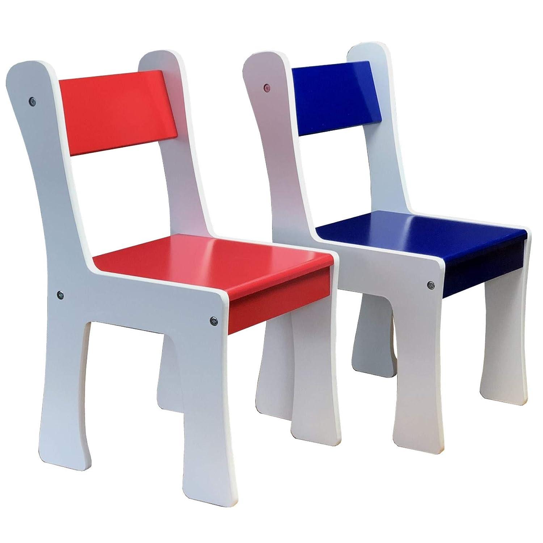Kindersitzgruppe mit XXL Tisch und 2 x Kinderstuhl Set aus Holz MDF in Weiss bunt mit blau und rot f/ür Kinderzimmer