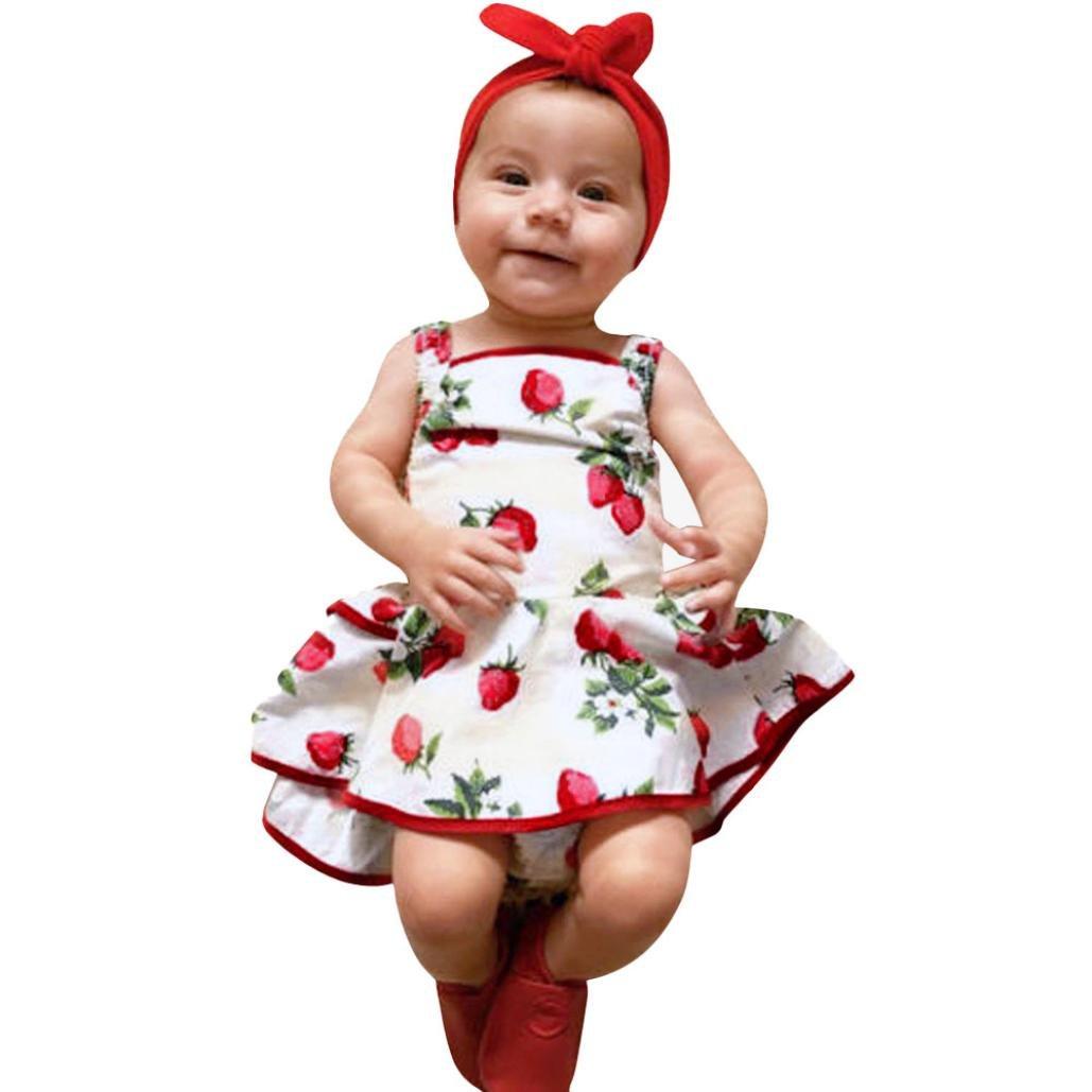 BBsmile Ropa de niña, Bebés Lindos Infantiles Niños Fresa Imprimir Romper Ropa Princesa Vestido,ropa de niña a la moda barata,ropa de niña shores