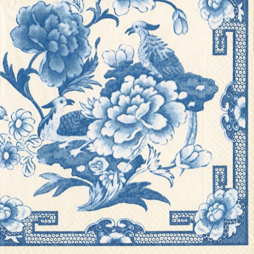 Entertaining with Caspari Dinner Napkin, Blue and White, 20-Pack (Blue Dinner White Napkins And)