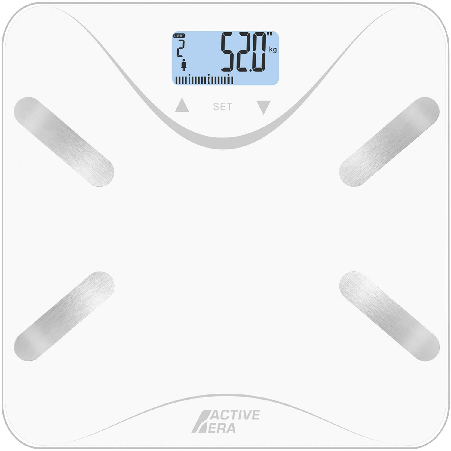 Active Era® Body Fat Bathroom Scales - Ultra Slim Analyser with BF%, BMI, Age, Weight and Height - White