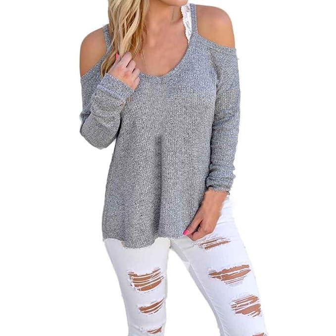 Vovotrade Las mujeres de manga larga blusa blusas sin tirantes (S, gris claro)