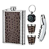 YWQ Stainless Steel 8 oz Hip Flask, Bonus 2 Shot Glass+1 Flask Funnel+1Giftbox+1 Corkscrew+1 Compass- Everything You Need to Pour Shots on the Go Review