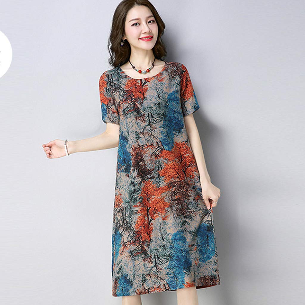 XXXXXL, Orange Thenlian Womens Dress Floral Printed Summer Short Sleeves Casual O-Neck Long Casual Linen Loose Knee-Length Dress with Pocket