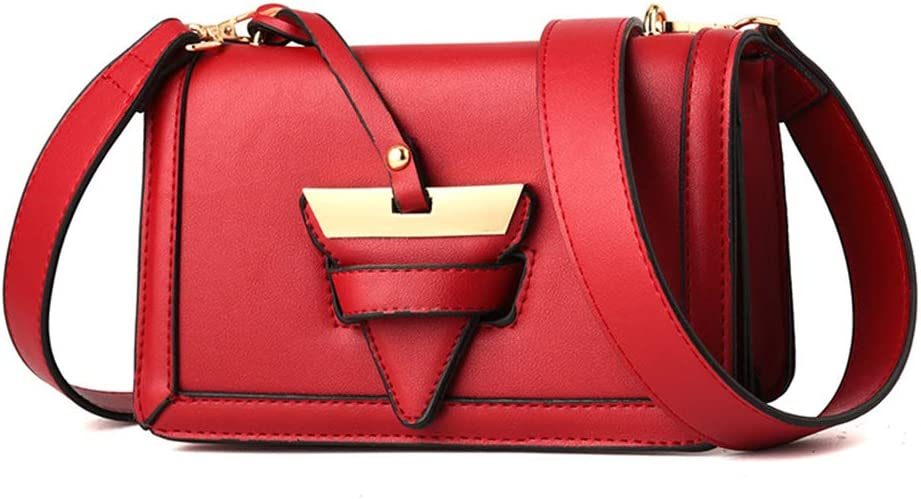 Ladies Fashion Buckle Small Square Bag Versatile Simple Multi-function Shoulder Messenger Bag,Red,S