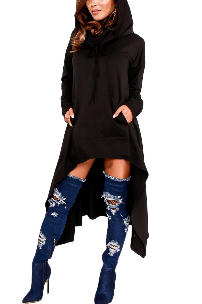 Bai You Mei Womens Fashion Autumn Long Sleeve Hoodie Sweatshirts Casual Irregular Dress Plus Size Black 3XL