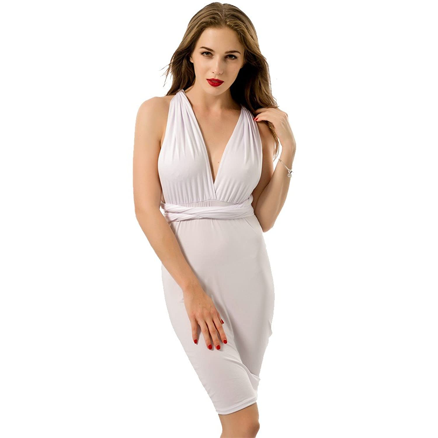 Women Sexy Midriff Backless Cocktail Club Sleeveless White Lace-Up Pencil Dress