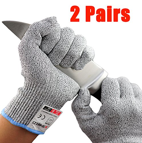 XSHIELD 17-CTG, Cut Resistant Gloves,High Cut Level 5, Food Grade,Safety Kitchen Cuts Gloves, VACUUM Packing, 2 Pairs, Free Ziplock Bag Included (X-Large)