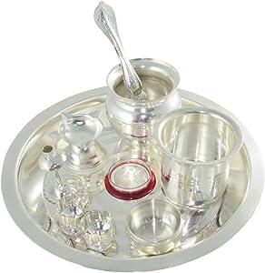 GoldGiftIdeas 8 Inch Kalash Special Tarbhana Silver Plated Pooja Thali Set for Home, Pooja Thali Decorative Plate, Wedding Gift