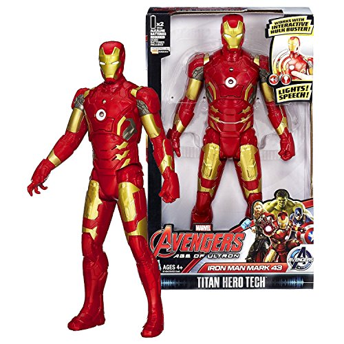 Age of Ultron Marvel Year 2015 Avengers Titan Hero Tech 12 Inch Tall Electronic Figure - IRON MAN MARK 43 with Sound Effects and Lights (Avengers Age Of Ultron Titan Hero Tech)