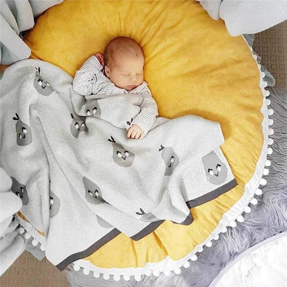 HOUTBY Round Rug Solid Color Cotton Kid Play Mat Soft Comfortable Carpet Baby Room Nursery Teepee Tent Decoration 35.4inch Yellow