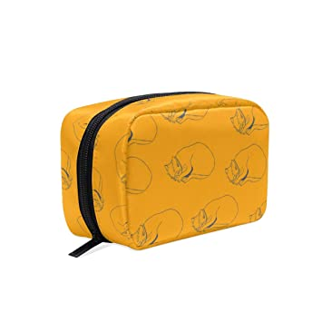 30a4f6a6b71e Amazon.com : Makeup Bag for Portable Yellow Cat Traveling Square ...