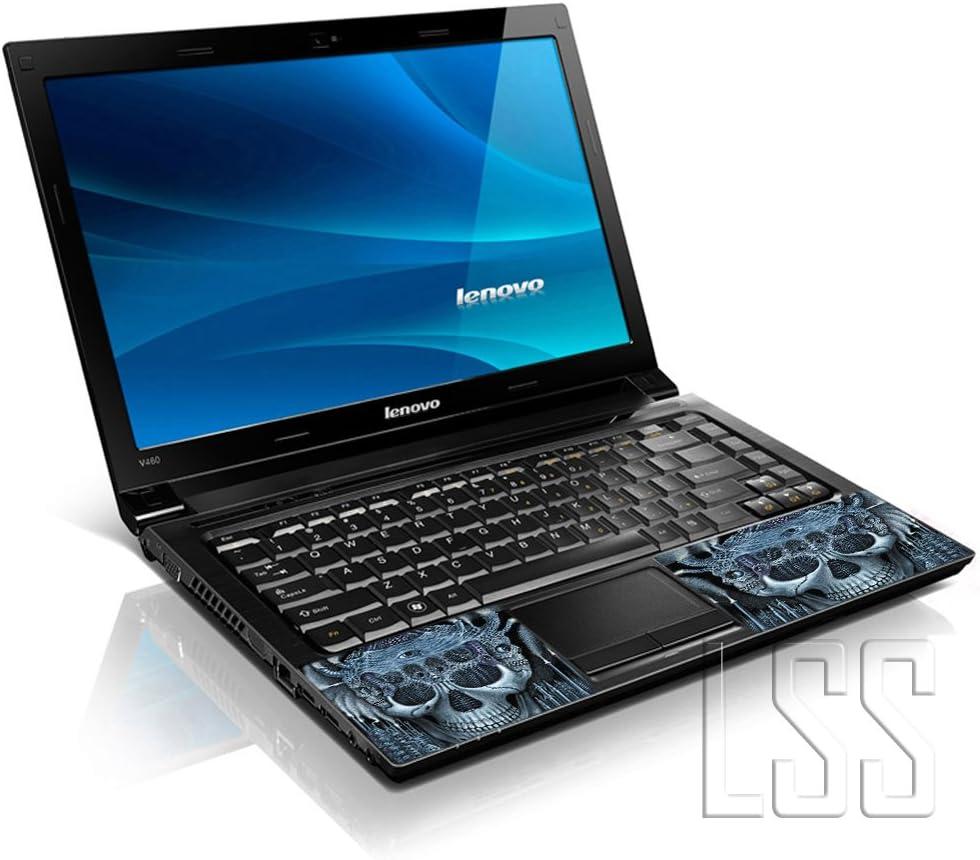 2 repose-poignet comprises Dell t/ête de mort Bleu Apple Lenovo Asus Compaq Asus Acer LSS ordinateur portable 17 // 17,3 avec Skin autocollant en vinyle Compatible 16,5 // 17 et 17,3 18,4//19 // HP