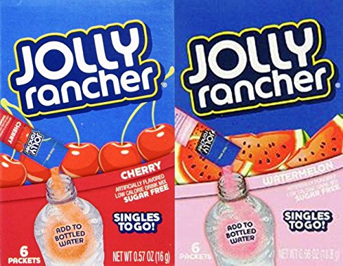 Jolly Rancher Sugar Free Singles to Go Cherry & Watermelon Variety (Pack of 6)