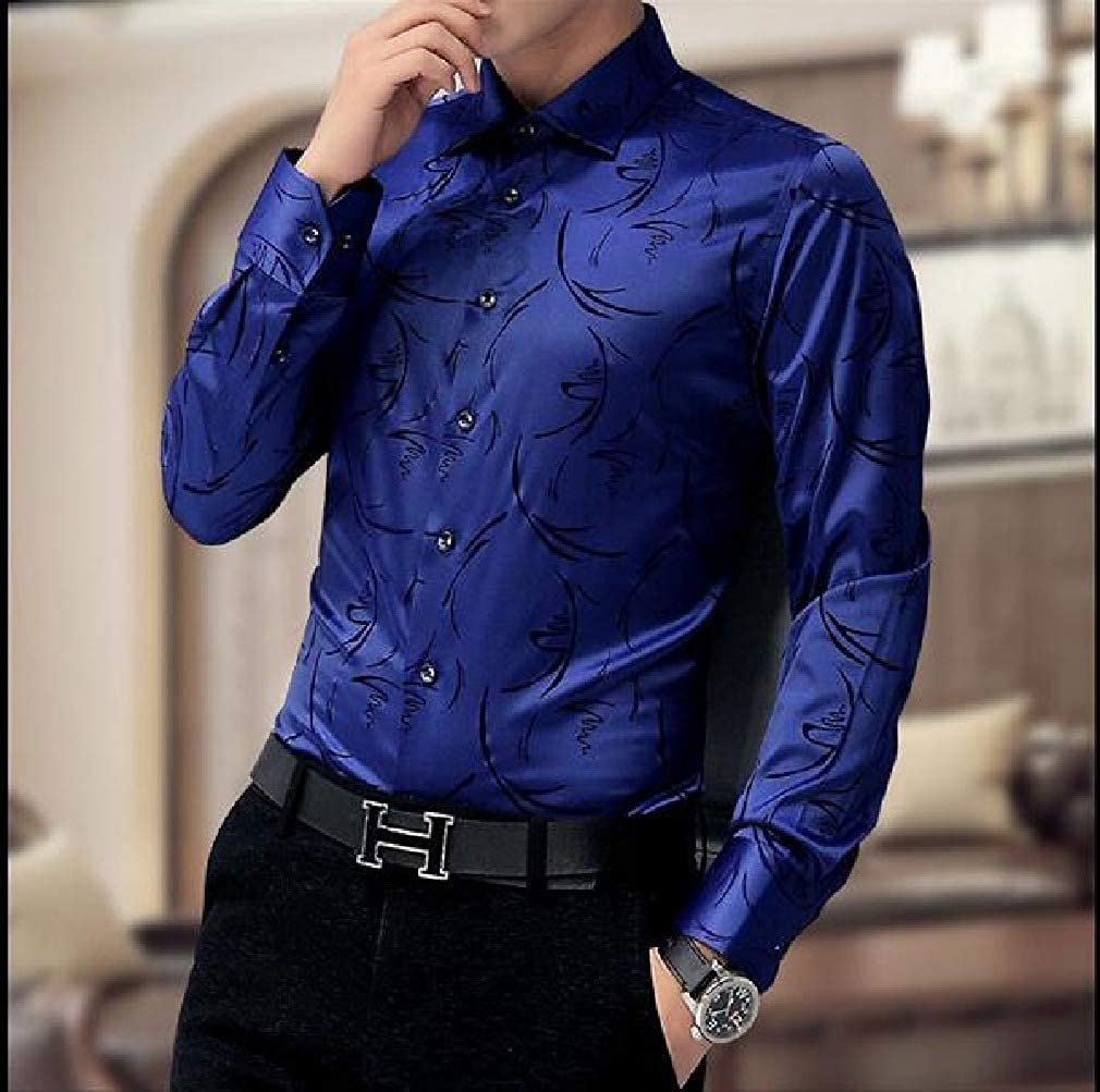 Unastar Mens Long-Sleeve Floral Print Slim Fit Button Down Dress Shirts