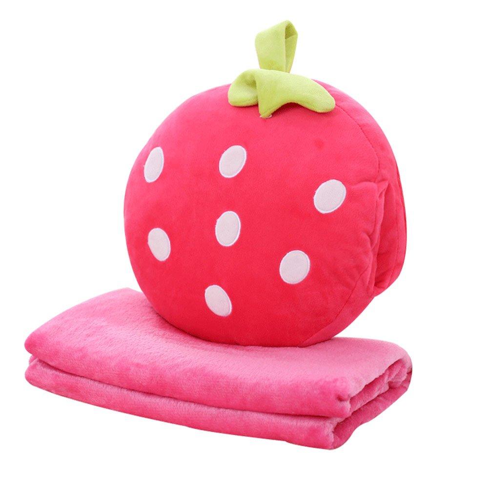 Rainie Love 3 in 1 Cute Strawberry/Kiwifruit/Pineapple/Orange/Watermelon Shape Design Plush Stuffed Fruits Throw Pillow Cushion Travel Blanket Hand Warmer Set(Brown/Red/Yellow/Green) by Rainie Love