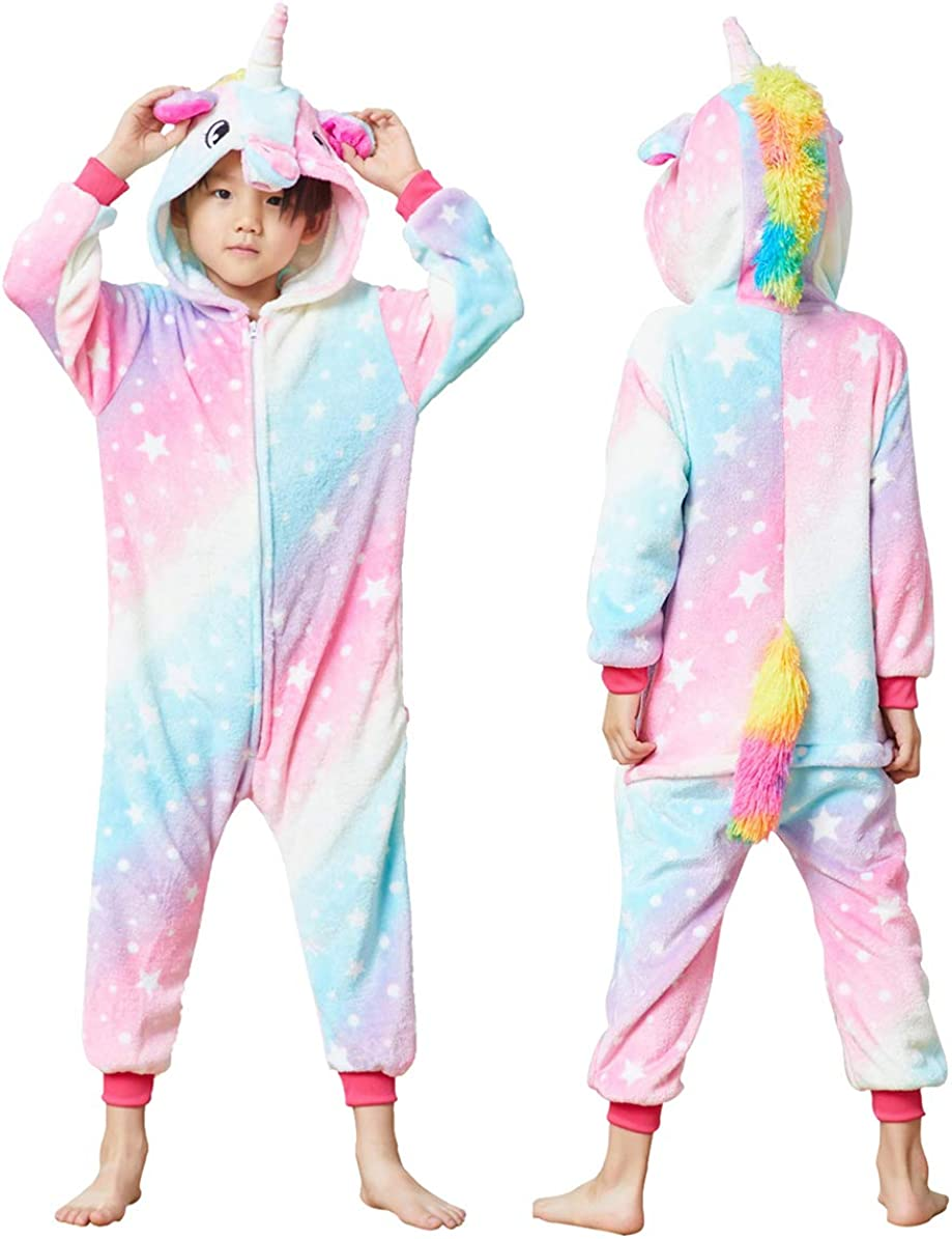 Colorful Unicorn Onesie Pajamas for Kids - Animal Costume for Halloween Cosplay
