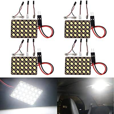 Everbright 4-Pack Super White Led Panel Dome Light Lamp, 2835 24SMD Led Interior Car Lights Auto Led Dome Light with T10 /BA9S/ Festoon Adapters, DC-12V: Automotive