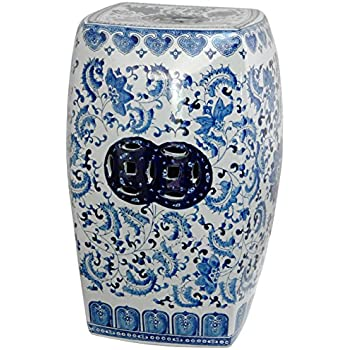 Oriental Furniture 18  Square Floral Blue u0026 White Porcelain Garden Stool  sc 1 st  Amazon.com & Amazon.com: Oriental Furniture 18