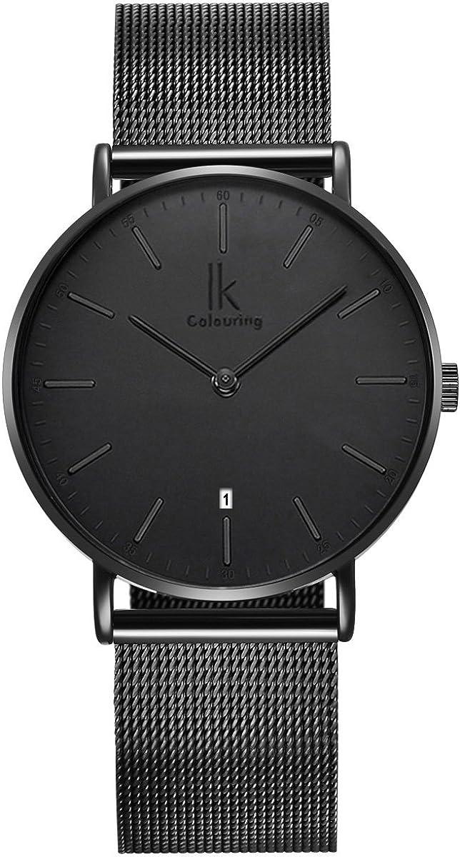 Alienwork IK Ultra-Delgada Reloj Hombre Mujer Calendario con Banda de Malla
