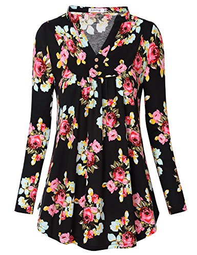 Lyking Women's Notch Neck Long Sleeve Floral Printed Pleated Tunic Shirt Tops(L,Floral - Embellished Tunic Printed