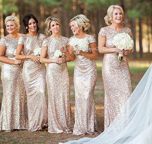 Mancherons De Fanciest Femmes Sequin Longues Robes De Demoiselle D'honneur De Sirène D'or D'or