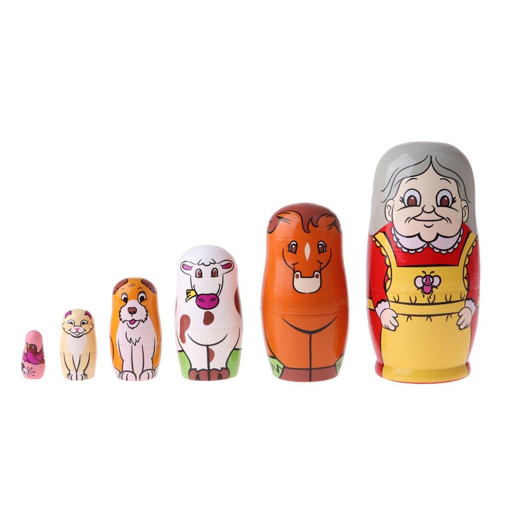 MagiDeal Traditionelle Russische Matroschka Babuschka Matrjoschka Steckpuppe Holzpuppen ( 6/5-tlg ) - Eiscreme, 5 pcs