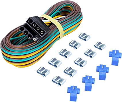 Amazon.com: CZC AUTO Trailer Wiring Harness Kit 4-Way Wishbone Style, Y  Style 18AWG Pure Copper Core Color Coded Wire with Standard 4-pin Flat Plug  Connector, 4' Female and 25' Male for 12VAmazon.com